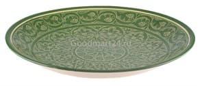 Ляган Риштанская Керамика 42 см. плоский, зеленый