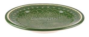 Тарелка плоская Риштанская Керамика 19 см. зеленая