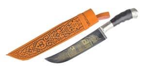 Пчак средний, гарда и навершие мельхор с узором, рукоять Рог полированный, клинок с узором, ШХ-15, 17-18 см. арт.21