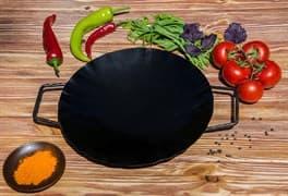 Садж сковорода без подставки, вороненая сталь, 29 см.